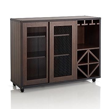 Enitial Lab Furniture of America Sallos Multi Storage Buffet, Vintage Walnut