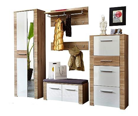 Stella Trading CXHW203080 Garderobenkombination San Remo, Front hochglanz MDF Absetzung, circa 250 x 197 x 36 cm, eiche hell Nachbildung