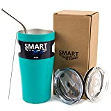 Tumbler 20 Oz Color - Smart Coolers - Ultra-Tough Double Wall Stainless Steel Tumbler Cup - Premium Insulated Mug - Keep Coffee and Ice Tea - Powder Coated - 2 Lids + Straw + Gift Box - Turquoise (Color: Turquoise, Tamaño: 20 oz)