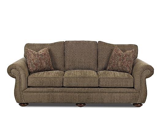 Klaussner Platter Street Sofa, Leaf/Garnet