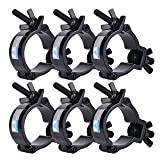 6 Pack Heavy Duty Aluminum Stage Lighting Mount (Black) 2 Inch Clamp for Moving Head Light/Par Light/Spotlight, Fits 48-51mm OD Tubing/Pipe, Max Load 220lbs (Color: black)