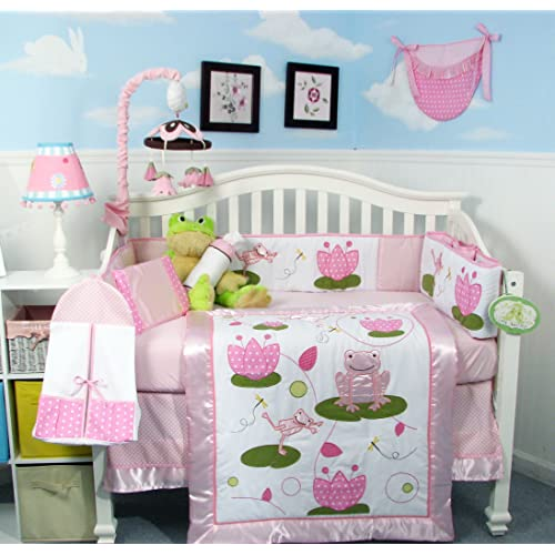 SOHO Pink Froggie Party Crib Nursery Bedding Set 13 pcs included Diaper Bag with Changing Pad & Bottle Case  Spring Special !