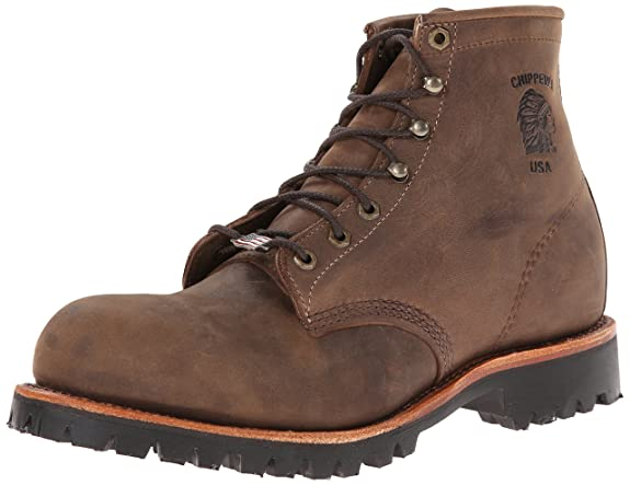 Chippewa Men's 6 Inch Chocolate Apache Steel Toe Lace-Up Rugged Boot,Brown,11 D US