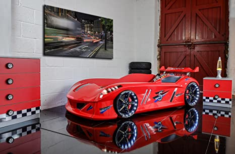 CAR BED - Speedyboy Supercar racer 3ft bed - LED LIGHTS + SOUND - Red - Childrens kids boys beds