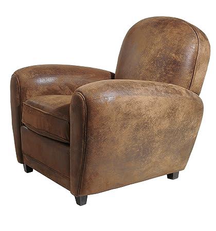 KARE Design Vintage Round Arm Chair, Fabric, Brown