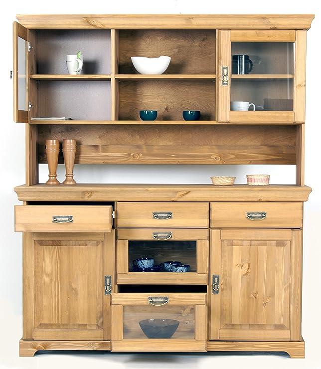 Buffet, credenza, cassettiera in legno di pino oliato, armadio, credenza