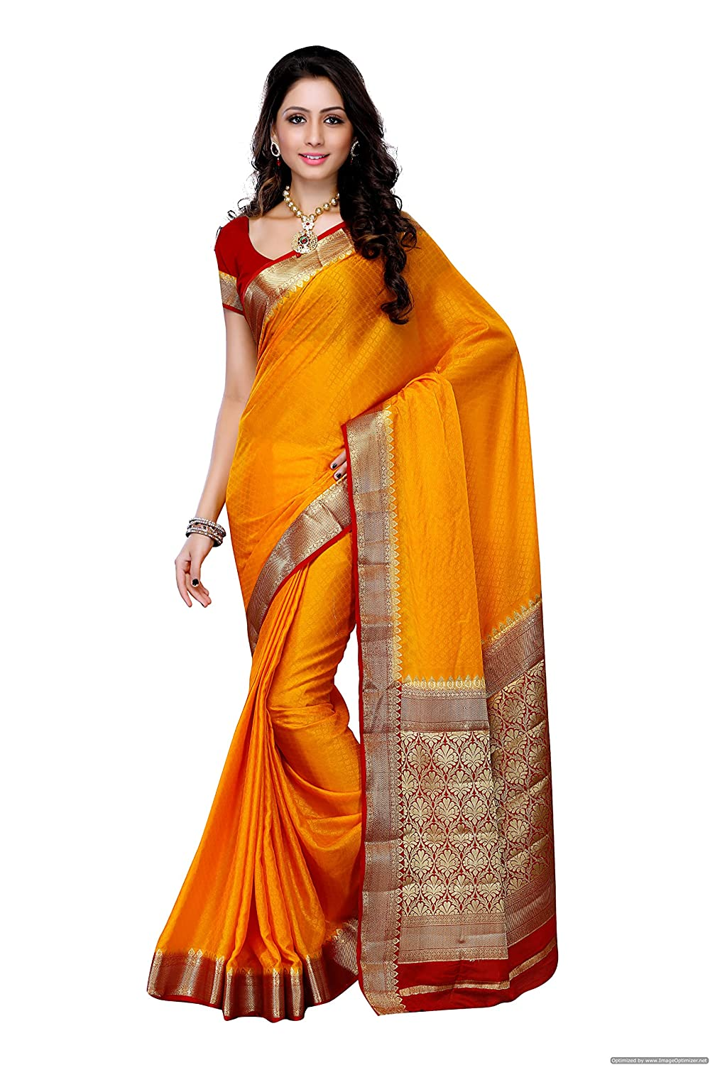 Mimosa Women'S Creap Silk Saree With Blouse