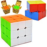 Joyin Toy Speed Cube, 2 pack Magic Rubix Cube 3x3 & 2x2; Rubiks Cube, Easy Turning; Sticker Free; Anti-Pop Structure and Durable for Professional Players by Joyin Toy