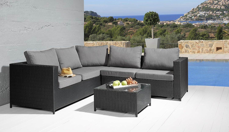 Sitzgruppe Comfortlounge 3 tlg. schwarz Gartengarnitur Lounge Möbel Sofalounge günstig online kaufen