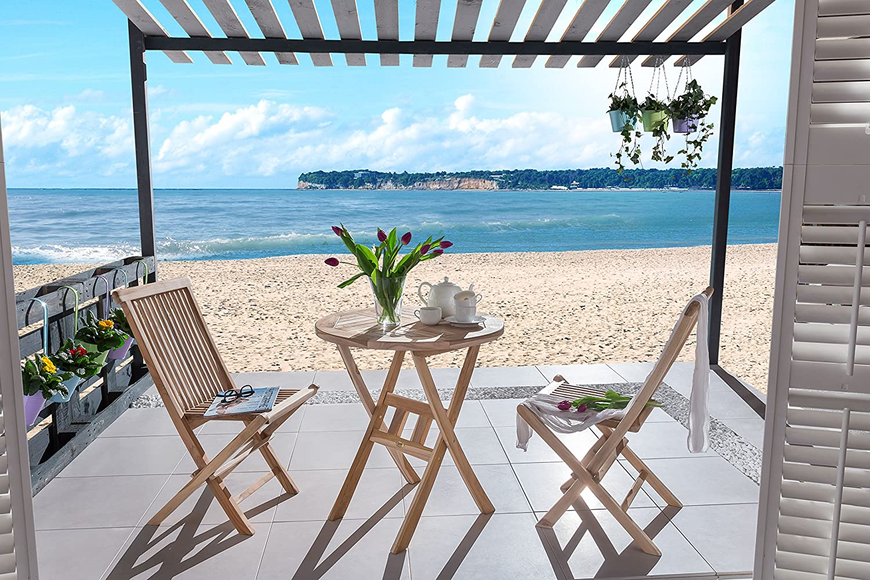 SAM® Teak Holz Balkongruppe, Gartengruppe, Gartenmöbel, 3tlg., Romario, klappbar, 2 x Klappstuhl, 1 x Tisch jetzt kaufen