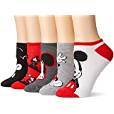 Disney Women's Classic 5-Pack No Show Socks, Red, 9-11 (Color: Red Mickey, Tamaño: Fits Sock Size 9-11; Fits Shoe Size 4-10.5)