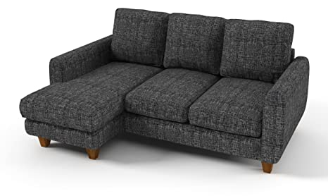 Sofabella Lexi Corner Sofa with Cotton Drill Style Fabric, 196 x 150 x 82 cm, 2-Piece, Grey Weave