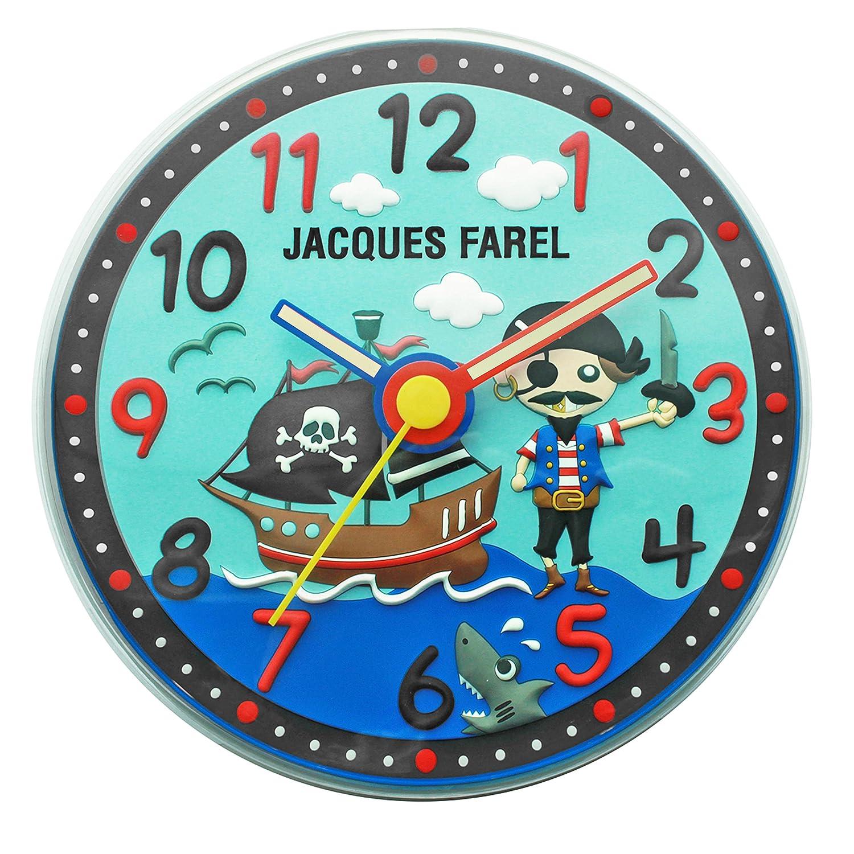 Jacques Farel Kinder Wanduhr in 3D Optik – Pirat günstig online kaufen