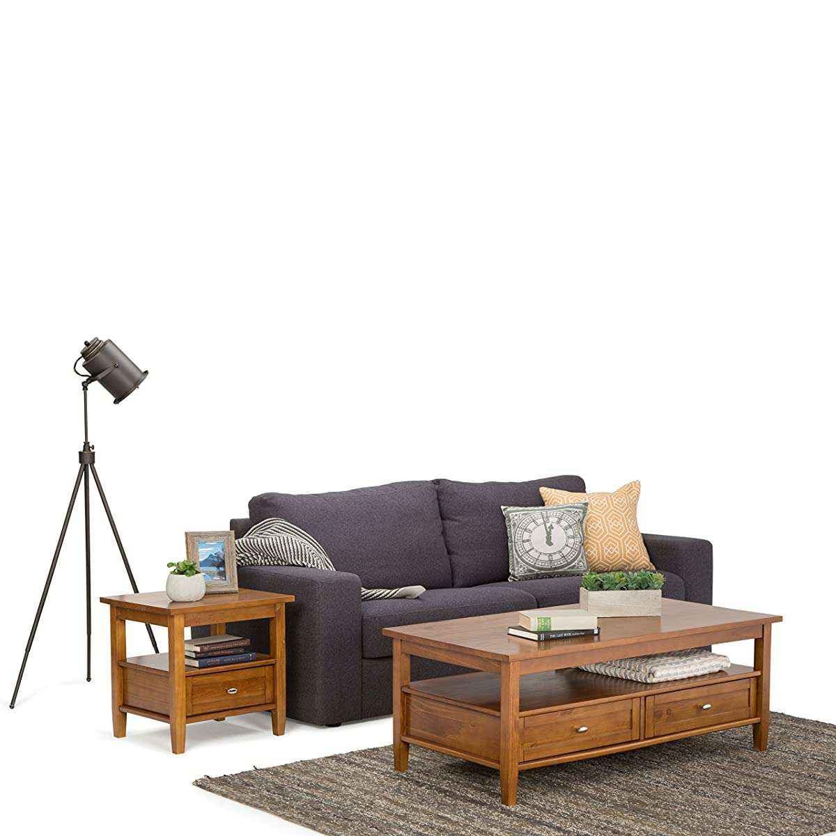 Simpli Home Warm Shaker Coffee Table, Honey Brown