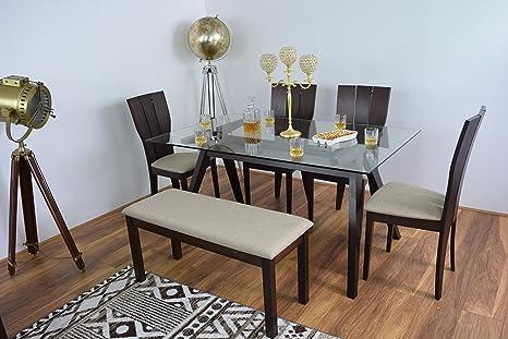 NUEVO Moderno de Cristal Conjuntos de mesas Vajilla de madera juego de mesa y 4sillas de comedor con banco rectangulares madera maciza Muebles de Cocina Diner