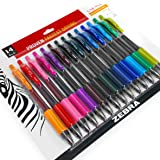 Zebra - Sarasa Retractable Gel Ink Rollerball - Fast Drying - 0.7mm - Assorted Pack of 14 Ink Colours