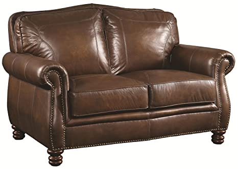 Coaster 503982 Home Furnishings Love Seat, Hand Rubbed Brown