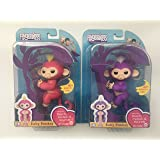Fingerlings - Interactive Baby Monkeys 2 Pack- Mia (Purple with White Hair) & Bella (Pink with Yellow Hair) - by WowWee
