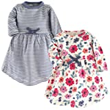 Touched by Nature Baby Girls' Organic Cotton Dress, 2 Pack, Garden Floral, 3 Toddler