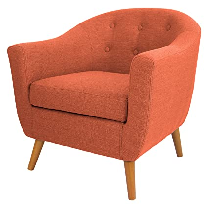 Mid Century Retro Modern Style Rust Orange Button Tufted Upholstered Tub Accent Armchair with Wood Legs Includes ModHaus Living (TM) Pen