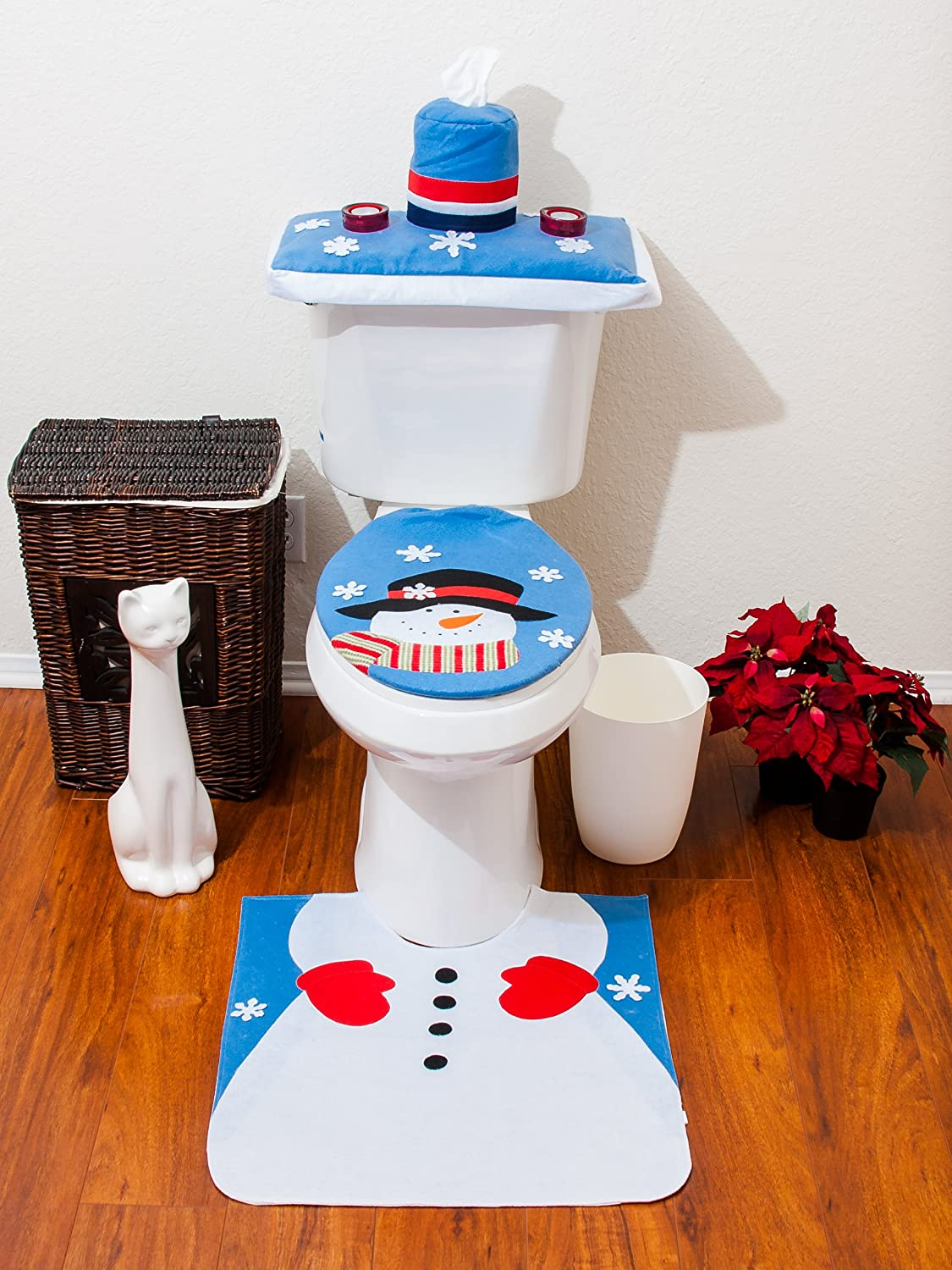 santa bathroom toilet seat cover and rug set blue snowman ebay