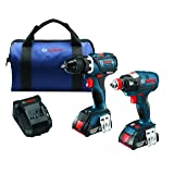 Bosch 18 V 2-Tool Combo Kit with EC Brushless 1/4 In. and 1/2 In. Socket-Ready Impact Driver and EC Brushless Compact Tough 1/2 In. Drill/Driver CLPK238-181 (Color: Blue)