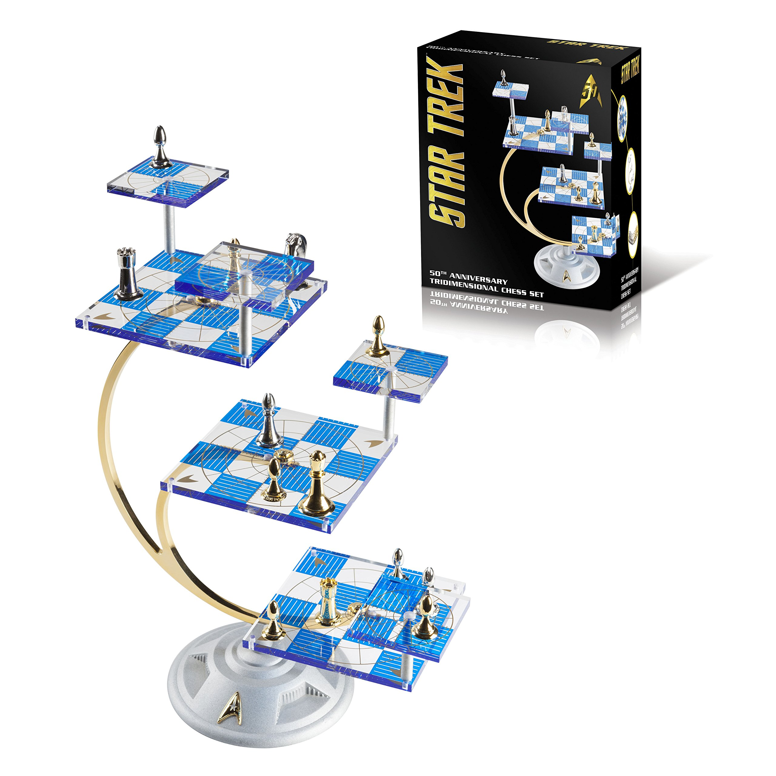 Franklin mint 39 s official 50th anniversary star trek tridimensional chess set ebay - Tri dimensional chess board ...