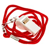 BLARIX Guard Pea Whistle and Lanyard (White and Red) (Color: White and Red)