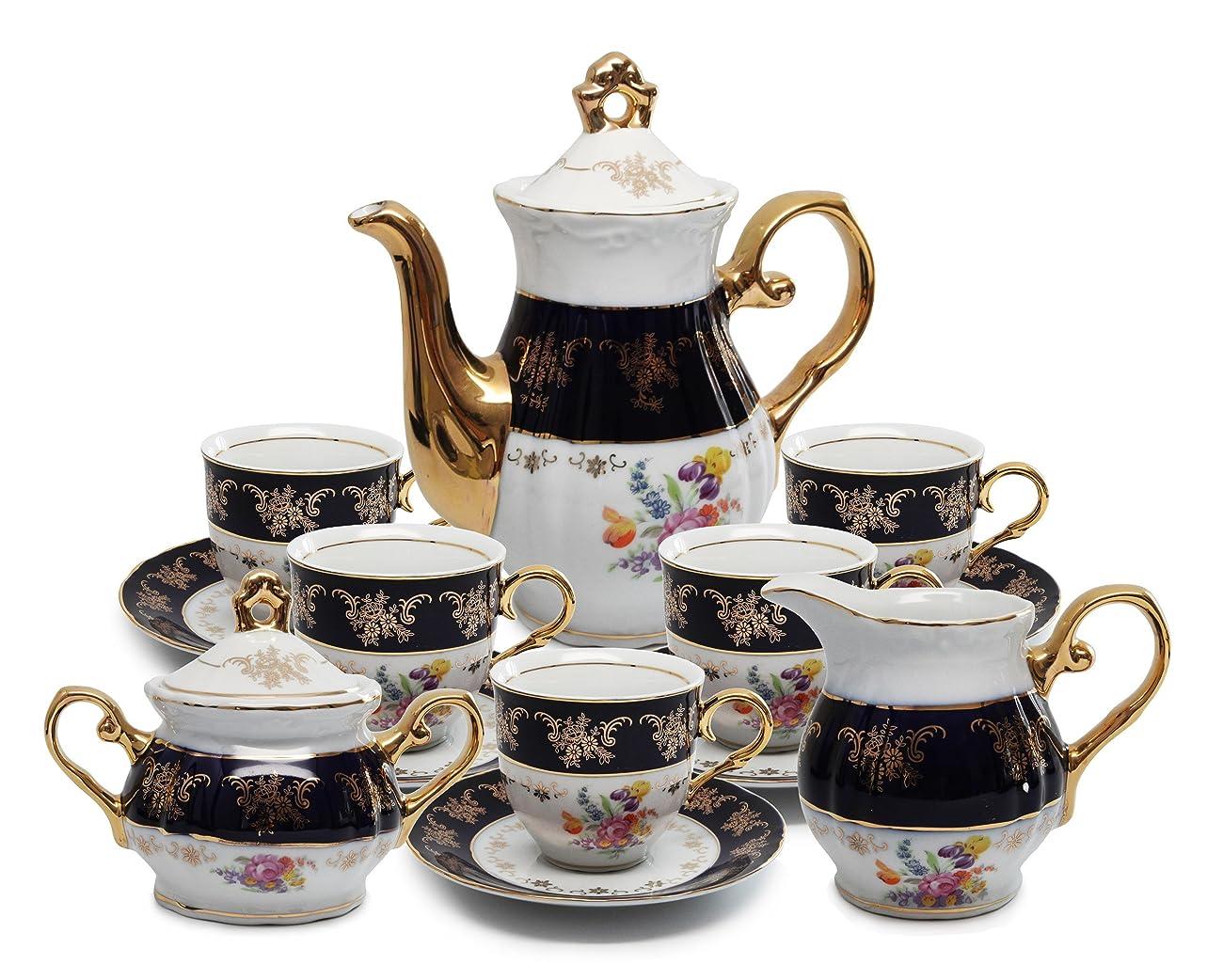 Royal Porcelain 17pc Flower-Patterned Dark Blue Tea Set, 24K Gold-Plated Original Cobalt Tableware, Service for 6 0