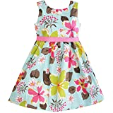 Sunny Fashion Girls Dress Blue Flower Print Size 4-5 (Color: Blue, Tamaño: 4 / 5)