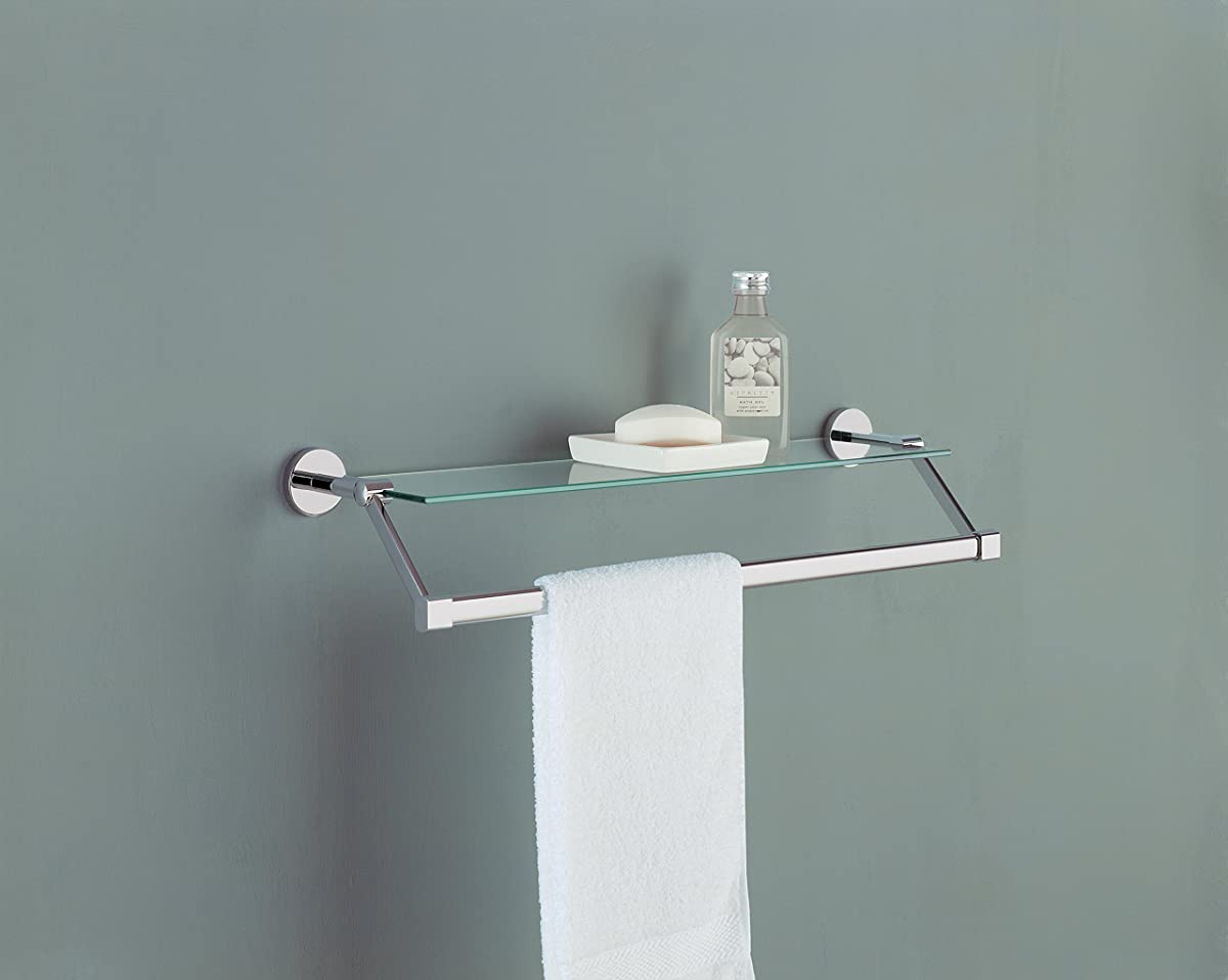 Organize It All Bathroom Glass Shelf with Chrome Towel Bar