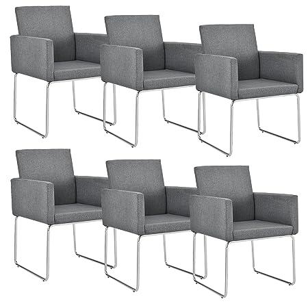 [en.casa] Set de 6 sillas de diseño - 82,5 x 54cm gris oscuro - Juego de sillas de comedor