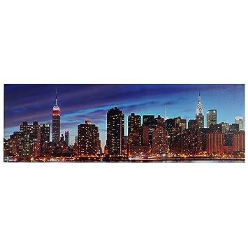 Toile de d coration murale led led tableau illumin - Cadre lumineux new york ...