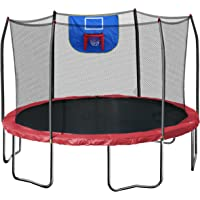 Skywalker 12-Feet Jump N Dunk Trampoline With Safety Enclosure and Hoop (Red)