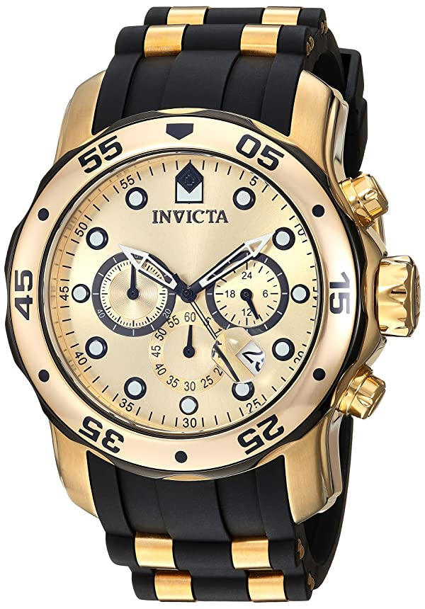 Invicta Men's 17885 Pro Diver Ion-Plated Stainless Steel Watch with Polyurethane Band (Color: gold)