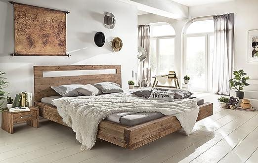 Woodkings® Holz Bett 180x200 Marton Doppelbett Akazie geburstet Schlafzimmer Massivholz Design Doppelbett Schwebebett massive Naturmöbel Echtholzmöbel gunstig