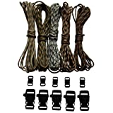 Paracord Bracelet Kit - 550 Lb Parchute Survival Cords - 5 Camo Colors Each 20 Ft = 100 Feet Total - Crafting Cord Supplies Comes with 10 Side Quick Release Buckles