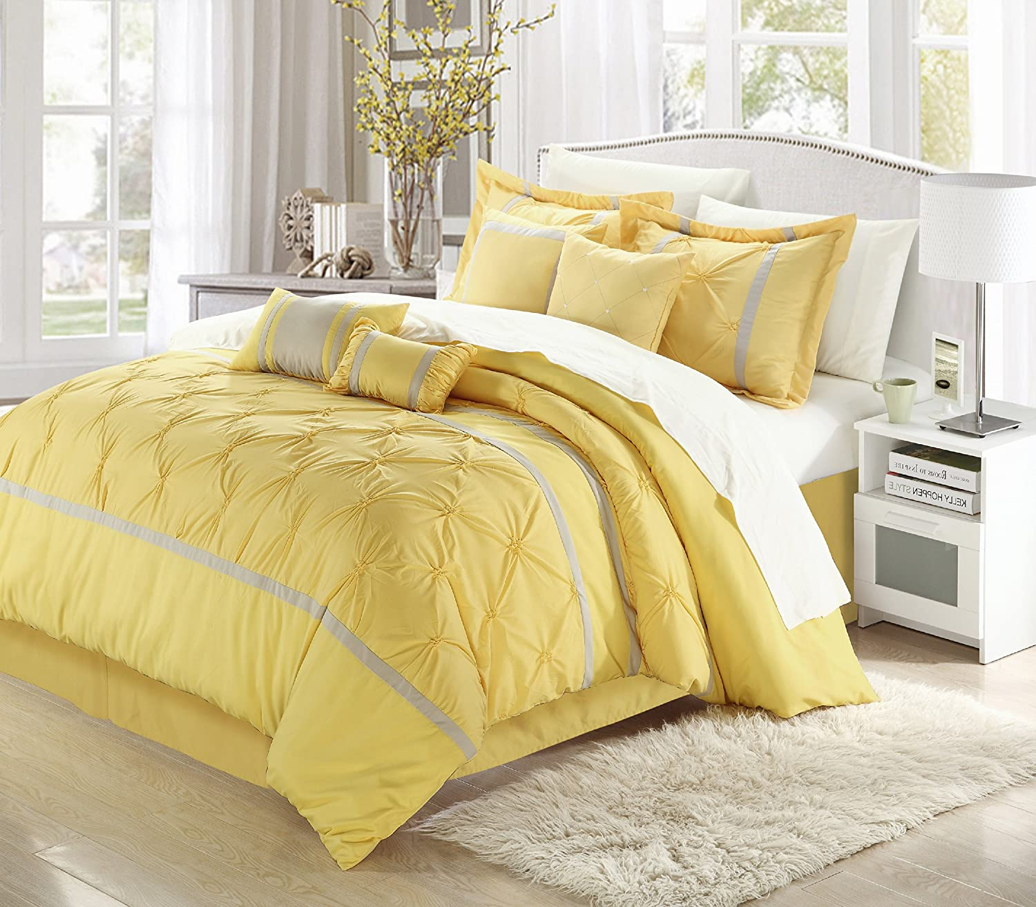 Chic Home Vermont 8-Piece Bedding Comforter Set Cozy and Elegant (Queen, Yellow/Gray)
