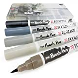 Royal Talens - Ecoline Liquid Watercolour Drawing Painting Brush Pens - Set of 5 in Plastic Wallet - Grey