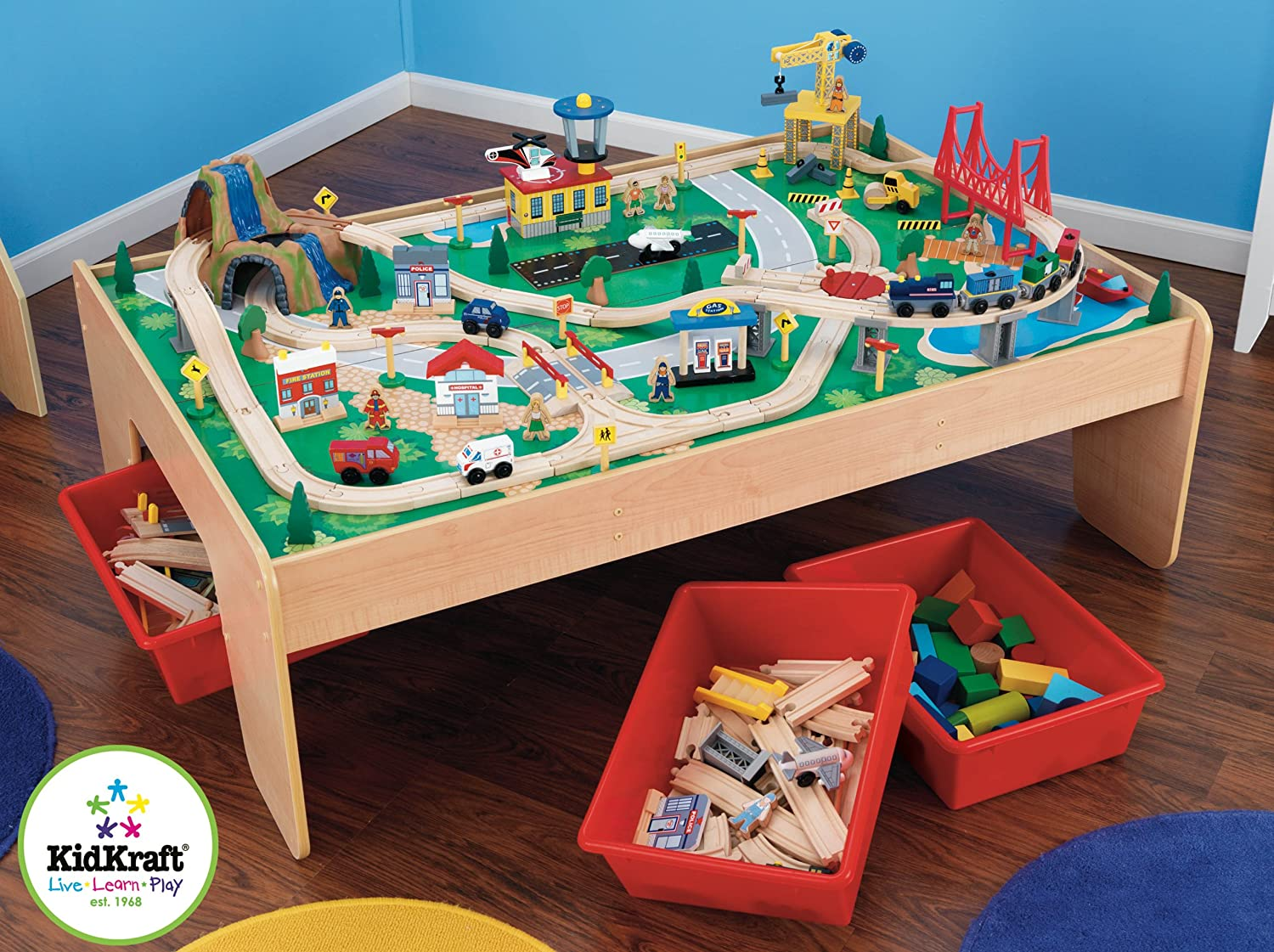 wooden train table kidkraft 120 piece waterfall train set. Black Bedroom Furniture Sets. Home Design Ideas