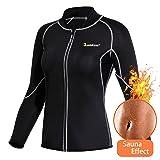 Women Hot Sweat Weight Loss Shirt Neoprene Body Shaper Sauna Jacket Suit Workout Long Training Clothes Fat Burner Top (Black Sauna Suit, M) (Color: Black Sauna suit, Tamaño: Medium)