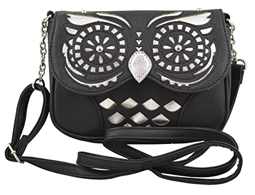 Women's/girls Clutch - Cross Body Bag with Owl Shape and Metallic Finishing (Black)