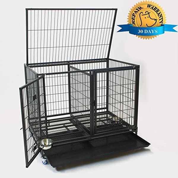 43 Stackable Heavy Duty Cage w/Feeding Doors and Divider or Additional Tray (DG-43-FS)