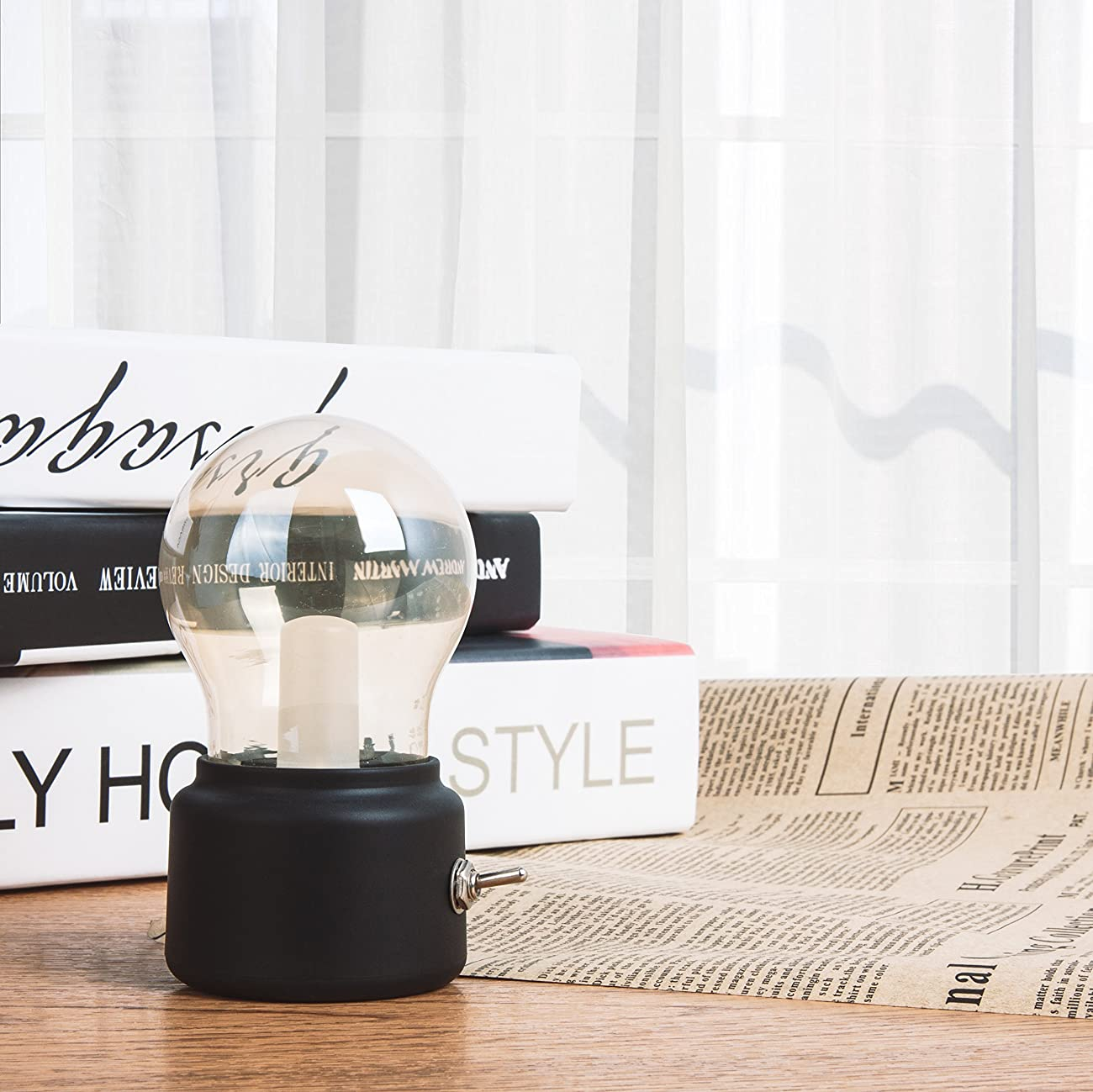 Veesee LED Vintage Light Bulb Rechargeable Night Light Safety USB Energy Saving Low Voltage Portable for Home Desk Table Tea Travel (Black) 4