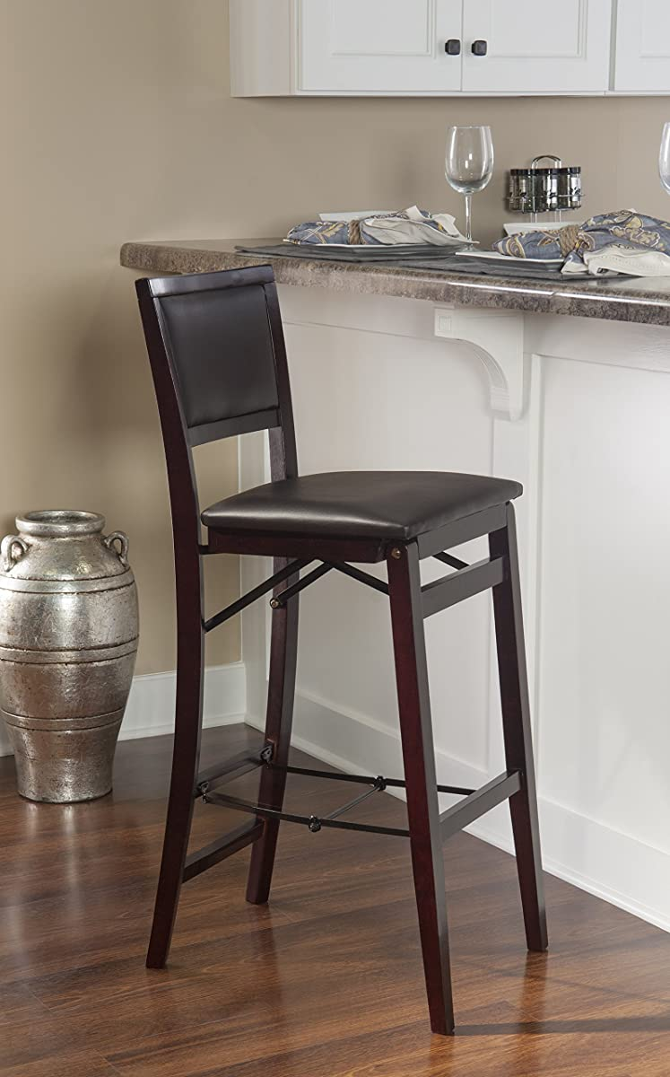 Linon Home Decor Keira Pad Back Folding Counter Stool 24 Inch
