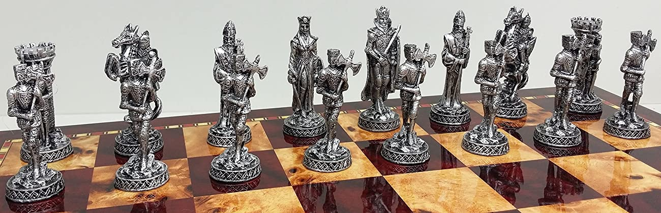 Medieval Times Crusades Knight Pewter Metal Chess Men Set Antique Gold and Silver Finish - NO BOARD 2