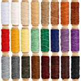JANYUN 24 Colors Flat Leather Sewing Waxed Cord Thread,Each of 33 Yards