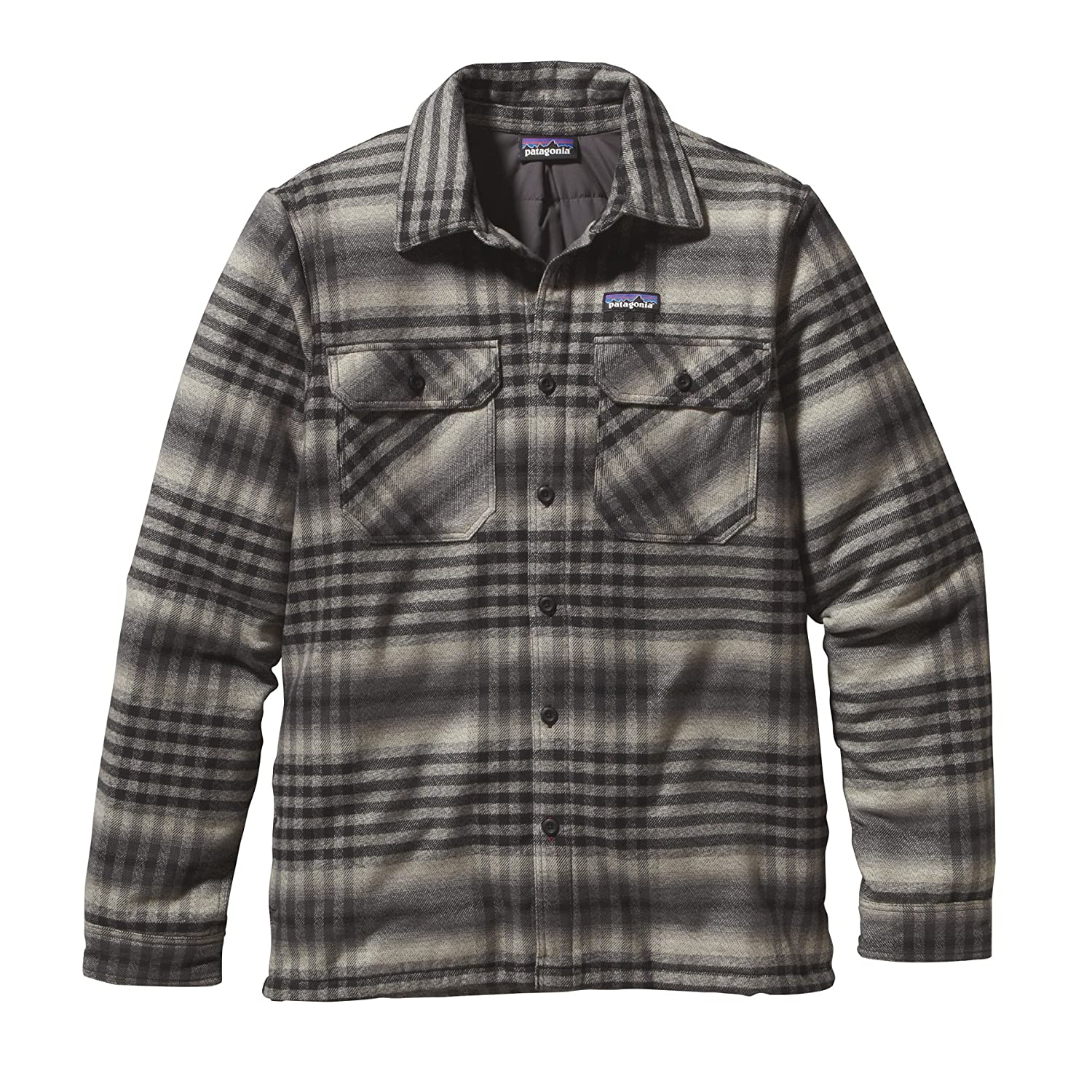 Patagonia Insulated Fjord Flannel Jacket - Winter Dusk: Black - - Isoliertes Herren Thermogreen® Bio-Baumwoll Flanellhemd
