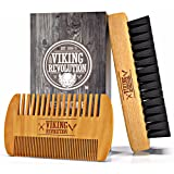 Beard Comb & Beard Brush Set for Men - Natural Boar Bristle Brush and Dual Action Pear Wood Comb w/Velvet Travel Pouch - Great for Grooming Beards and Mustache by Viking Revolution (Color: Normal)