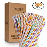 True Straw 200-Pack Premium Biodegradable Paper Straws - 4 Colors of Eco-Friendly Drinking Straws - Bulk Paper Straws for Juices, Smoothies and Party Decorations - 7.75